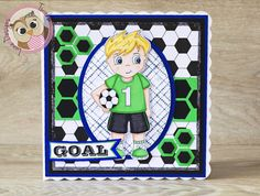 GOAL Handmade Card! Featuring Football Boy Digi Stamp from Twinkle Lane Designs #cardmaking #football #digitalstamp #handmade #colouring