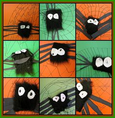 Fun - could tie this into a texture lesson.  Make web with glue - sprinkle with black sand and let dry.  Make spider out of something soft.