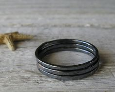 Trio of sterling silver texture minimalist by PoseidonsBooty