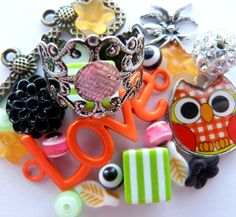 Unique all-in-one DIY Jewelry Crafting Supplies! Filigree Ring Blank, Neon Love Connector, Lucite Flowers, Cabochon, Orange Owl Charm, Evil Eye Beads, and More, $4.75