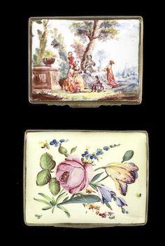 A Birmingham enamel snuff box and a South Staffordshire enamel snuff box, circa 1760-65