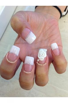 These white rose nails by Bonnie of Instagram's @Bonbonsbeauty are ready to be worn with a wedding gown, or a lacey summer dress with boots, Fun French Manicures, Nail Art, Flower Nails, Floral Nails, Pretty Nail Designs, Nail Trends, Nail It! Magazine Fun French Manicure, French Manicures, Pink Nail Designs, Pretty Nail Designs, Rose Nails, Flower Nails, Pretty Nail Colors, Pretty Nails, Pink White Nails