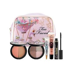 Too Faced Beautiful Dreamer Makeup Collection ($46) ❤ liked on Polyvore featuring beauty products, makeup, beauty, cosmetics, travel toiletry case, make up purse, dop kit, too faced cosmetics and travel bag