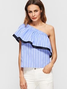 c1f24a26f49 Our Into The Blue One Shoulder Top features a one shoulder cut