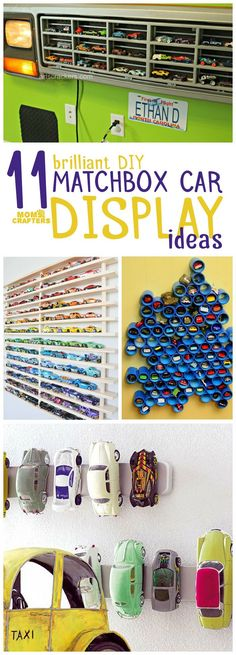 11 Brilliant + Beautiful Hot Wheels Display Ideas Got too many toy cars and matchbox cars? Check out these 11 genius hot wheels display ideas – they double as storage and organization but they are also beautiful as playroom decor! Hot Wheels Storage, Toy Car Storage, Hot Wheels Display, Kids Storage, Craft Storage, Storage Ideas, Matchbox Autos, Matchbox Cars, Matchbox Car Storage