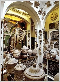 Interior of the John Soane Museum, London. A quirky and utterly unique treasure trove of sculptures, models, art and other curiosities collected by Soane whilst still his family home and left to the nation in his will (entry is free)