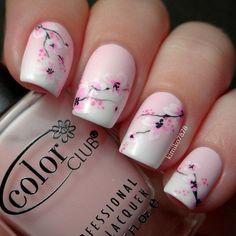 Elegant nails, Floral nails, flower nail art, Flower patterns on nails, Nails for spring 2016, Nails with sakura pattern, Ombre nails, Pale nails 2016 Nail Design, Nail Art, Nail Salon, Irvine, Newport Beach