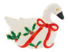 $12 Vintage Enamel Christmas Pin Brooch White Goose #Unbranded