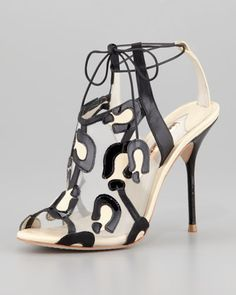 I can't even describe how obsessed I am with the simplistic amazingness of this shoe! Blake Leopard Mesh Tie Sandal by Sophia Webster at Neiman Marcus.
