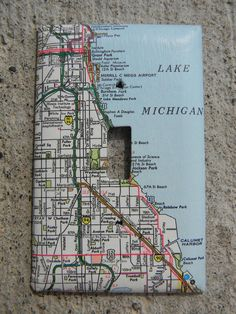 Map light switch plate. I think I could make this a modge-podge project!