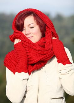 Knit scarf   knit men scarf  RED SCARF  Hand Knitted by MioLauma, $45.00