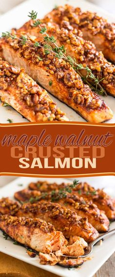 Paleo - maple-walnut-crusted-salmon-pin - It's The Best Selling Book For Getting Started With Paleo Fish Dishes, Seafood Dishes, Tasty Fish Recipe, Whole30 Salmon Recipes, Autumn Recipes Dinner, Salmon Pasta Recipes, Spaghetti Recipes, Crusted Salmon, Dinner Ideas