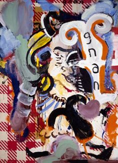 "Gnan Gnan oil, resin, gesso, enamel on awning, 188 x 138"", 1990"