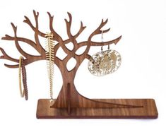 Large Wooden Jewellery Display Tree   Wooden Jewelry Organiser Stand
