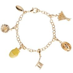 £75.00 - Vincent van Gogh Charm Bracelet.  This beautiful gold plated charm bracelet was inspired by Vincent van Gogh.  Five of the six removable charms are nods to Van Gogh's most famous paintings, including: Sunflowers, A Wheatfield with Cypresses and Van Gogh's Chair and the sixth is the National Gallery's own logo plate. #sunflowers