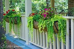 Adding DIY hanging baskets to your front porch railing is a fabulous way to welcome spring and boost your curb appeal. Description from hometalk.com. I searched for this on bing.com/images