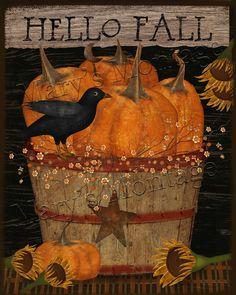 Primitive Autumn, Primitive Folk Art, Primitive Fall Crafts, Primitive Decor, Primitive Labels, Halloween Wood Crafts, Halloween Art, Autumn Painting, Autumn Art