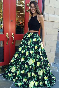 Ball Gown Prom Dresses, two piece halter floor length black floral satin prom dress with appliques Rose Dress Pageant Dresses For Teens, 2 Piece Homecoming Dresses, Floral Prom Dresses, Elegant Bridesmaid Dresses, Printed Dresses, Graduation Dresses, Dressy Dresses, Lovely Dresses, Dresses Uk
