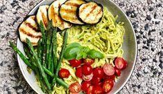 Pasta pesto van pistachenoten met gegrilde groentes - Gewoon wat een studentje 's avonds eet