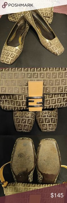 "Fendi Fats ""Authentic"" Shoes! FENDI SHOES... Shoes size 38 Made in Italy ~ Great Condition ~ No rips, scraping or stains ~ Gold trim and Fendi front Logo ~ Soles and heels have signs of wear ~  HANDBAG Listed Separately!!!  🚫Trades   Please ask as many questions as possible.  I want you to be 100% satisfied prior to purchasing! Aiming for a ⭐⭐⭐⭐⭐ Fendi Shoes"