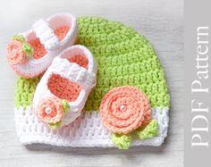 Вязание крючком Детская шапка и пинетки новорожденного Размер, фото Prop, PDF Pattern