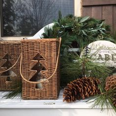 I made this picture yesterday,changing some decoration on our bench in front of our house. I bought the… Diy Christmas Snowflakes, Christmas Themes, Christmas Decorations, Cabin Christmas, Rustic Christmas, Xmas, Street Pictures, Hello December, Christmas Wonderland