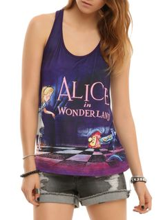 Tank top from Disney with an Alice In Wonderland title card design and a keyhole racerback.