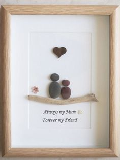 Mother and child pebbled art frame
