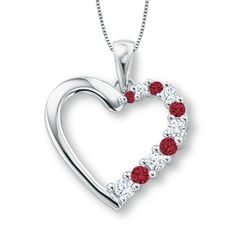 Lab-Created Ruby and White Sapphire Journey Heart Pendant in 10K White Gold - Zales