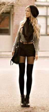 I LOVE high socks with high wasted shorts. The sweater makes it even cuter, I would put my hair in a loose pony tail