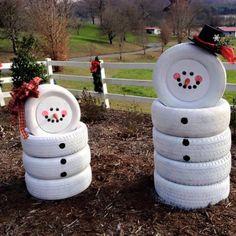 boneco de neve feito com pneus