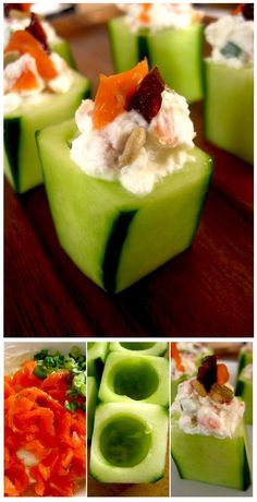 Goat Cheese-Stuffed Cucumber Appetizers This appetizer is so incredibly easy-peasy, it practically makes itself. Rather than cheese on crackers, I think it's so smart to use cucumbers as a carrier! Thanks to rspcooks for the recipe… Snacks Für Party, Appetizers For Party, Appetizer Recipes, Cucumber Appetizers, Cucumber Recipes, Cucumber Cups, Smoked Salmon Appetizer, Cucumber Water, Cheese Appetizers