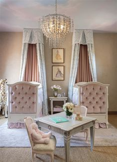 As seen at HGTV, this sweet and feminine twin girls' nursery features an elegant chandelier and pale pink tufted cribs paired with blue damask canopies. Blue Bedroom, Girls Bedroom, Modern Bedroom, Bedroom Ideas, Home Interior, Interior Design, Cute Dorm Rooms, Home Living, Girl Room