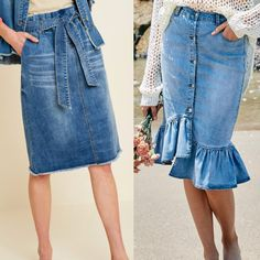 Swans Style is the top online fashion store for women. Shop sexy club dresses, jeans, shoes, bodysuits, skirts and more. Denim Skirt Outfits, Denim Maxi Dress, Midi Skirt, Online Fashion Stores, Affordable Fashion, Chambray, High Waisted Skirt, Fashion Dresses, Chiffon