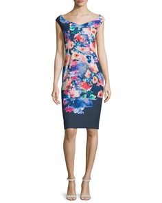 Cap-Sleeve+Floral-Print+Sheath+Dress,+Wishing+Well+by+Black+Halo+at+Neiman+Marcus.