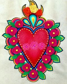 Hungarian Embroidery, Folk Embroidery, Embroidery Designs, Folk Art Flowers, Flower Art, Mexican Paintings, Mexican Pattern, Mexican Flowers, Cow Painting