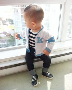 """Baby Boy Blue """"Grease"""" 50s Outfit - Lettermans Jacket Skinny Jeans Onesie Suspenders by mabelretro on Etsy https://www.etsy.com/listing/189666109/baby-boy-blue-grease-50s-outfit"""
