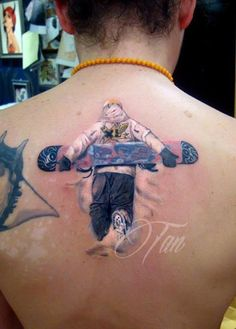 Sick High Quality Snowboard/Boarder Back Tattoo snowboarder by Tan Cadde Yilmaz from Turkey
