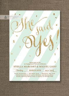Gold Glitter Engagement Party Invitation She Said Yes Stripes Mint Gold Confetti Sprinkle Modern Printable Digital or Printed - Stella Style on Etsy, $20.00