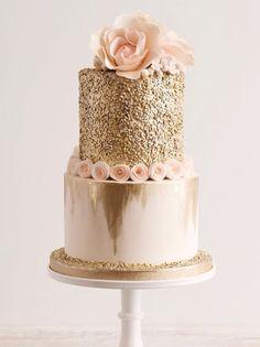 Gold Flower Sparkle Cake