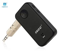 [NFC-Enabled] Bluetooth Receiver, iXCC Bluetooth Adapter and Hands-Free Car Kit, Wireless Stereo System Adapter for iPhone, Samsung and More - Black