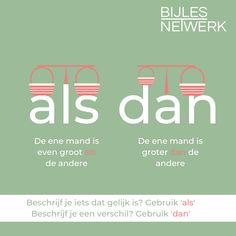 Taal: Als of dan? Learn Dutch, Dutch Language, School Posters, School Hacks, Home Schooling, Study Tips, Writing Tips, Back To School, Homeschool