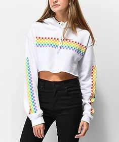 Add some fun to your casual look in the Rainbow Check White Crop Hoodie from A-Lab. This white hoodie features an unfinished, cropped bottom hem, an adjustable drawstring hood, and is complete with rainbow checkerboard patterns screen printed across the c Cropped Hoodie Outfit, Oversized Hoodie Outfit, Crop Top Hoodie, White Hoodie, Crop Top Outfits, Trendy Outfits, Cool Outfits, Fashion Outfits, Mens Fashion