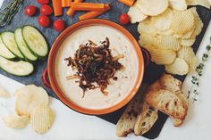 this savoury caramelized onion dip is the perfect thing for chips and  veggies! Whip it up real quick for your next bbq or picnic!