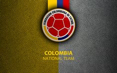 Download wallpapers Colombia national football team, 4k, leather texture, Colombian Football Federation, emblem, logo, football, Colombia