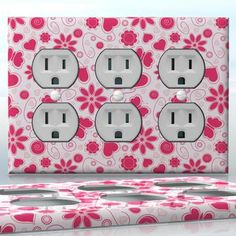DIY Do It Yourself Home Decor - Easy to apply wall plate wraps | Pink Summer Day  Pink hearts, flowers and butterflies  wallplate skin sticker for 3 Gang Wall Socket Duplex Receptacle | On SALE now only $5.95