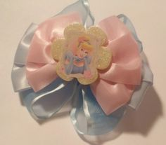 Walt Disneys Cinderella Blue And Pink Boutique Hair Bow | Jenstardesigns - Accessories on ArtFire