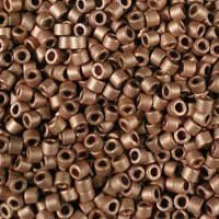 Miyuki 11/0 (1.6mm) Delica Matte Copper-Plated glass cylinder beads, colour number DB 340. They are plated with real copper, then given a soft, frosted finish. UK seller.