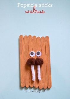 Popsicle sticks walrus craft