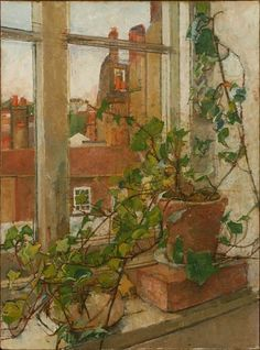 William Coldstream (English, 1906-1987). Window in Hampstead, 1981. Oil on canvas